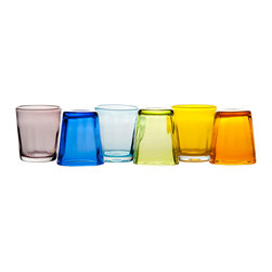 Abigails - Carnevale Tumblers, Asst Colors, Set of 6 - A smashing set of 6 colored glass tumblers designed by a traditional Venetian factory. This company has always been famous for its forward designs and does not disappoint here. Colors are orange, amethyst, aquamarine, yellow, apple green, and blue.  Colors will vary as they are handcrafted.  Hand wash recommended.