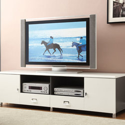 Coaster - 700910 TV Console, White - This contemporary TV console features white high gloss waterfall edges, curved chrome hardware and legs. TV console sides and compartments are finished in gunmetal, which adds contrast and modern style to this piece.