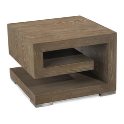 """Kathy Kuo Home - Agora Global Bazaar  Weathered Brown Wood Geometric Side End Table - Reminiscent of the """"classic with a capital C"""" Greek key motif, this modern end table brings a theme from the ancient world into an ultra modern interpretation.  Stainless steel feet create a subtle sense of air underneath."""