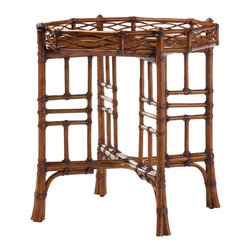 Lexington - Lexington Island Estate Key Largo End Table 531-941 - Leather bound rattan becomes an artform and complements the cracked penn shell stationary tray top. Metal accents adorn the top of the legs.