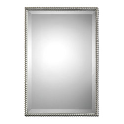 "Uttermost - Sherise Brushed Nickel Mirror - Brushed Nickel, Metal Frame Features A Decorative Beading Design. Mirror Features A Generous 1 1/4"" Bevel. May Be Hung Either Horizontal Or Vertical."