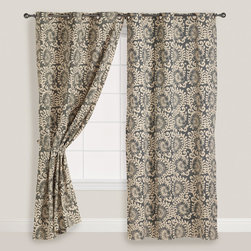 World Market - Wild Hibiscus Grommet Curtain - Our exclusive Jaipur-inspired Wild Hibiscus Curtain gorgeously accents any window with an ornate floral mélange. Deep gray tones provide privacy and easily coordinate with an array of décor motifs. Crafted with quality in India of heavy cotton chambray, this curtain is a stylish investment for any budget.