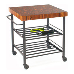 Sommelier Cart - Butcher Block Prep Table - Available in multiple countertop species and finishes.