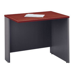 Bush Business - 36 in. Return Bridge Desk - Series C - This bridge desk mounts to the right or left of any other desk to provide additional space.  The Diamond Coat top surface is scratch and stain resistant and the desk is fitted with PVC edge banding to help prevent any scrapes.  The modern design will look great in any contemporary home office, and a keyboard shelf can be easily added. * Diamond Coat� top surface is scratch and stain resistant. Mounts to any desk as right or left return. Modesty panel grommet allows wire access and concealment. Accepts Keyboard Shelf or Pencil Drawer. Durable PVC edge banding protects desk from bumps and collisions. Hansen Cherry finish. 35.433 in. W x 23.346 in. D x 29.842 in. H