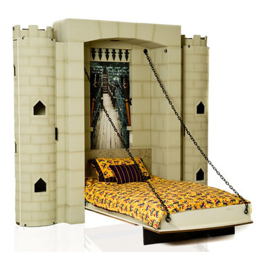 """Knight Castle Bed - A grand fortress for your little knight. This children's theme bed incorporates all the important elements of a castle – drawbridge, ornate finishes and tall turrets with secret doors to stow away valuable treasure. If your space limited, but you still wish to create a magical haven for your child, this wall bed designs allows you to  easily and quickly close the """"draw bridge"""" bed to free up space for a knight's duul or an official parade."""