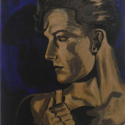 Ramon Navarro (Original) by William Ulrich - A painting from my show Dark Glamour of Ramon Navarro. I revisited early Hollywood glamour. I painted in dark metallics, colors like venetian blue, pale gold and blackened bronze. The painting is on gallery wrapped canvas and does not need a frame.