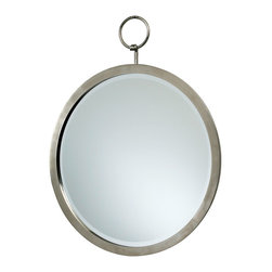Round Hanging Mirror - Suspend your belief that a mirror must be ordinary: The Round Hanging Mirror is presented with a perfectly formed circlet of polished chrome that allows for hanging the mirror from the decorative wall hook that is included. The mirror's simple configuration blends easily with the transitional appointments of a master bath, en suite, great room, or foyer.