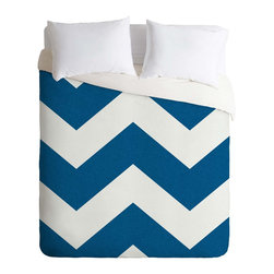 DENY Designs - DENY Designs Holli Zollinger Denim Chevron Duvet Cover - Lightweight - Turn your basic, boring down comforter into the super stylish focal point of your bedroom. Our Lightweight Duvet is made from an ultra soft, lightweight woven polyester, ivory-colored top with a 100% polyester, ivory-colored bottom. They include a hidden zipper with interior corner ties to secure your comforter. It is comfy, fade-resistant, machine washable and custom printed for each and every customer. If you're looking for a heavier duvet option, be sure to check out our Luxe Duvets!