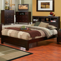 """Alpine Furniture - Solana East King Platform Bed with Bookcase Headboard - Solana Eastern King Platform Bed with Bookcase Headboard; Cappuccino Finish; Product Material: Select Solids and Veneer; For use with a Standard or Eastern King mattress; Come with complete set of slats, no box spring required; Country of Origin: Indonesia; Dimensions: 88.25""""L x 79""""W x 47.25""""H"""