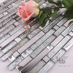 ITB - Bathroom Tile,Glass mosaic tile,Metal tile,Wall tile,living room wall tile - Mix with Glass and Stainless steel, looks simple and elegant.