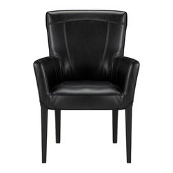 """Colette Arm Chair with Black Leg - A little bit French, a little bit sassy and maybe even a bit daring, this bicast leather-clad beauty is always ready for a good time, especially when guests arrive. Whether reflecting elegant black or sultry chocolate, the Colette Arm Chair says """"less is more."""" Clean lines complemented by simple, tapered legs and elegant topstitching deliver a sophisticated yet understated look. And with the easy care of bicast leather, Colette is destined to remain fine and fabulous forever."""