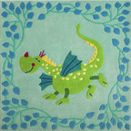 HABA Kids' Fairytale Dragon Area Rug - Bring a fairy tale in your child's room with this friendly dragon. This rug would look great in a girl's or boy's room. Made from 100% New Zealand wool with textile backing.