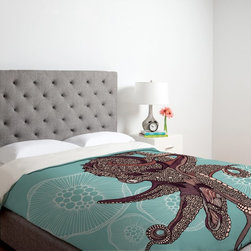 DENY Designs - DENY Designs Valentina Ramos Octopus Bloom Duvet Cover Multicolor - 13489-DUWKIN - Shop for Duvets from Hayneedle.com! A bold octopus floats on an aquatic background on the DENY Designs Valentina Ramos Octopus Bloom Duvet Cover adding a fun casual charm to your bedroom decor. This machine washable microfiber duvet cover has a metal snap closure and is custom-printed for each order to ensure bold long-lasting colors.About DENY DesignsDenver Colorado based DENY Designs is a modern home furnishings company that believes in doing things differently. DENY encourages customers to make a personal statement with personal images or by selecting from the extensive gallery. The coolest part is that each purchase gives the super talented artists part of the proceeds. That allows DENY to support art communities all over the world while also spreading the creative love! Each DENY piece is custom created as it's ordered instead of being held in a warehouse. A dye printing process is used to ensure colorfastness and durability that make these true heirloom pieces. From custom furniture pieces to textiles everything made is unique and distinctively DENY.