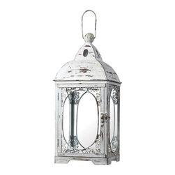 Sterling Industries - Sterling Industries 51-10022 Candle Lantern Decor in Weathered White - 18 White Hurricane Lantern