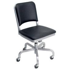 Emeco Navy Mid-Back Upholstered Swivel Office Chair   AllModern