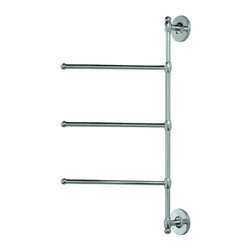 "Gatco - Gatco 1459 Chrome  Three Arm Wall Mount Towel Bar - Three Arm Wall Mount Towel BarThe finest in fashion bath, kitchen and home accessories. From traditional to contemporary, offering a variety of designer collections to compliment your style. Choose from many bathroom accessories such as towel bars, mirrors, grab bars, shower curtain rods, hooks, and free standing and counter top accessories.Gatco s Premier collections are constructed of the finest brass. Our high quality pieces are fabricated under a process know as forging. Forging is the ideal manufacturing process for creating smooth and precise detail of solid brass. Our finishes are the finest in the industry with each piece hand polished to perfection.Features:Three Arm Towel HolderSpecifications:Height: 24""Width: 12"""