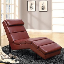 Monarch Faux Leather Chaise Lounger - Red - The Monarch Faux Leather Chaise Lounger - Red provides your living room decor with that extra splash of color. You'll find its contoured frame (made from sturdy solid hardwood) a welcome addition to your collection. Its thick padding rides the line between comfort and support, providing a firm surface for stretching out. The handsome red faux-leather of the piece simply pops and can easily become the centerpiece to your design. A padded, pillow-like headrest rounds out the piece's charming design.About Monarch SpecialtiesWilbur Berger established Monarch Glass in 1950 on Rachel Street in Montreal, providing quality custom mirror and glasswork for both retail stores and the home. Understanding that there was more business with glass, Monarch started manufacturing and then diversified to importing mirrors and frames. Currently, the company is centered in Quebec, where it is a leader among furniture importers and distributors, focusing on fashion forward designs and impeccable customer service.