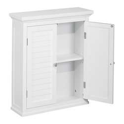 Elegant Home Fashions - Slone Wall Cabinet 2 Shutter Doors - The Slone Wall Cabinet with Two Doors from Elegant Home Fashions features a white finish.  The wall cabinet has an elegant crown molded top piece with two decorative louvered doors. It adds ample storage with style to your bathroom.  The decorative louvered doors keep your toiletries hidden and provide privacy.  It is also very functional with one adjustable interior shelf.  It also features chrome finished knobs for easy opening .This cabinet comes with assembly hardware.