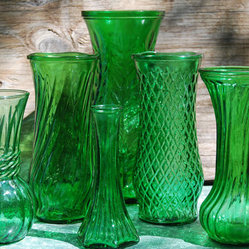 Lot Green Glass Vases by Twins Treasure Trove