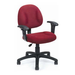 BOSS Chair - Computer Chair In Burgundy Fabric w Lumbar Su - Thick padded seat and back with built-in lumbar support. Waterfall seat reduces stress to your legs. Back height and depth are fully adjustable. Pneumatic seat height adjustment. 5 star nylon base allows smooth movement and stability. Hooded double wheel casters. Adjustable arms. Cushion color: Burgundy. Base/wood: Black. Seat size: 17.5 in. W x 16.5 in. D. Seat height: 18.5 in. -23.5 in. H. Arm height: 24-32 in. H. Overall dimension: 25 in. W x 25 in. D x 35-40 in. H. Weight capacity: 250 lbs