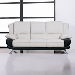 Beverly Hills Furniture Inc. - Italian Leather Sofa #117, Black - This Italian Leather Sofa #117 is a perfect piece for contemporary living. Its two-tone design will not leave your guests indifferent and make your living room shiny and stylish.