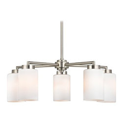 Design Classics Lighting - Modern Chandelier with White Glass in Satin Nickel Finish - 590-09 GL1024C - From the Mateo Fuse collection by Design Classics, this casually minimalist chandelier adds a contemporary note to your den or dining room. Five opal white shades of smooth glass display from a slim steel prong finished with satin nickel. Measures 11 inches tall, 24 inches wide. Takes (5) 100-watt incandescent A19 bulb(s). Bulb(s) sold separately. UL listed. Dry location rated.