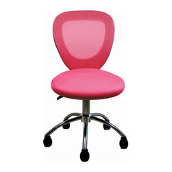 RTA Products - Techni Mobili Mesh Chrome Task Chair - Pink - The Techni Mobili Mesh Chrome Task Chair has a stylish, modern design made with a breathable mesh back, contoured mesh fabric seat, and a chromed steel frame. A pneumatic seat height adjustment lever offers a 3.5 inch seat height range. Dual wheel non-marking casters and heavy-duty chromed steel 5-star base provide durable, stable mobility.