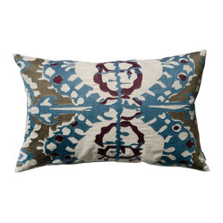 "KOKO - Blue and Plum Ikat Pillow, 13"" x 20"" - The embroidery on this pillow is truly stunning, giving it a texture that feels rich and luxurious. It would make a great addition to a collection of simple bed linens."