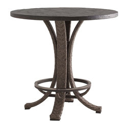 "Lexington - Tommy Bahama Blue Olive Hi/Lo Bistro Table - The high/low option is facilitated by a unique spacer that comes standard with the table. It can be installed between the base and the Weatherstone top and accommodates either the bar or counter stool. Table Base: 28""W x 28""D x 34-3/4""H. Top: 38""W x 38""D x 2-1/4""H."