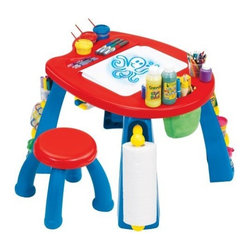 Grown-Up Crayola Creativity Play Station Art Table - Crayola's Creativity play station creates a workspace with lots of storage for little ones. The legs double as storage areas for everything from markers to a paper roll holder. More storage can be found on the desktop for easy access.