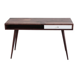 Jeremiah Collection - Mid Century Modern Laptop Desk, Walnut, Walnut Legs, White Gloss Drawer - This Mid Century walnut laptop desk is lean in dimension and can comfortably sit in a small office or apartment bedroom, for those that work from home. This desk is made with laptop users in mind, featuring one easy glide drawer and an open space for you to stash your tablet or other devices.