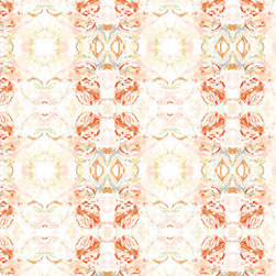 Fabric - 411 red peach mint fabric.  Available in various fabrications for sale by the yard and swatch.