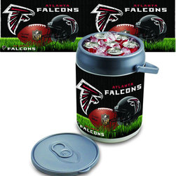 Picnic Time - Atlanta Falcons Can Cooler - The Can Cooler by Picnic Time is a hard-sided cooler and large beverage can replica that also doubles as a seat. It holds ten 12-oz. cans and has a 9 quart capacity. It features a snugly fitting, fully removable lid and folding handle. Perfect for the beach, patio, tailgating, parties, and sporting events.; Decoration: Digital Print; Includes: 1 removable lid