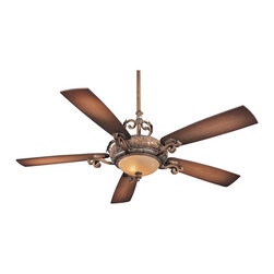"""Minka Aire - Traditional 68"""" Napoli II Tuscan Patina Finish Ceiling Fan - Napoli II ceiling fan from Minka Aire in a Tuscan patina finish with matching blades. This fan features a 212 x 25mm motor with a lifetime warranty. Includes 3 1/2"""" and 12"""" downrods and a full-function wall mount touch-control system. Uses two 50 watt mini-can halogen bulbs (bulbs included). 68"""" blade span. 14 degree blade pitch. (UM)  Tuscan patina finish.  Matching blades.  Lifetime motor warranty.  Uses two 50 watt mini-can halogen bulbs (bulbs included).   14 degree blade pitch.   68"""" blade span.   Fan height 10-3/8"""" blade to ceiling (with 3-1/2"""" downrod).   Fan height 17-5/8"""" ceiling to light kit (with 3-1/2"""" downrod).   Includes 3-1/2"""" and 12"""" downrods."""