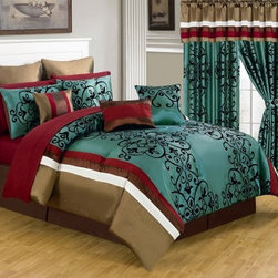 Lavish Home 25 Piece Room-In-A-Bag Eve Bedroom Set - Rich in color and texture, the Lavish Home 25 Piece Room-In-A-Bag Eve Bedroom Set is a decadent way to revamp your bedroom. This collection includes everything you need from bedding to window treatments. The pieces are made of soft polyester and have a deep red, teal, tan, and white color palette designed to coordinate beautifully. The comforter is oversized, overfilled, and features a black, embroidered damask pattern. Machine-wash in cold water and tumble-dry on low.Set Includes:1 Comforter1 Bedskirt: 15D in.2 Pillow shams: 20 x 36 in.3 Euro pillow shams: 26 x 26 in.4 Decorative pillows1 Flat sheet1 Fitted sheet2 Pillowcases4 Window panels: 56 x 84 in.2 Window Valances: 84W x 15L in.4 Curtain tie-backsComforter Dimensions:Queen: 92L x 92W in.King: 106L x 92W in.About Trademark Global Inc.Located in Lorain, Ohio, Trademark Global offers a vast selection of items for your home and lifestyle. Whether you need automotive products, collectibles, electronics, general merchandise, home and garden items, home decor, housewares, outdoor supplies, sporting goods, tools, or toys, Trademark Global has it at a price you can afford. Decor items and so much more are the hallmark of this company.