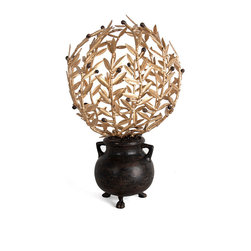 Villandry Topiary B - An uplifting centerpiece with the distinction and grace to complement an heirloom marble table, or a glamorous inclusion of old-world style to complete a traditional hearth vignette?  The Villandry Topiary B, designed in metal, lets slim Mediterranean branches with supple, blade-like leaves spring into a graceful circle from the mouth of a small iron cauldron, providing a romantic, evocative focal for your home d�cor.