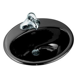 "Kohler - Kohler K-2905-4-7 Black Farmington Farmington 19-1/4"" Cast Iron Drop - Product Features:Oval basin couples functionality with aesthetic appealCovered under Kohler s limited lifetime sink warrantyConstructed of enameled cast-iron which combines strength, durability and insulation benefitsUltra-thick, high-gloss enamel that resists staining, scratching and chippingClassic beauty with pleasing linesDrop in installation delivers a clean appearance to your existing bathroom designCenter drain location provides optimal draining capabilityEquipped with overflow drain - works in tandem with the primary to prevent an overflow or spillageAll hardware needed for installation includedProduct Technologies / Benefits:Drop In Sinks: A rim or lip sits on the counter while the basin rests below. Ideal for remodeling, these sinks can be easily retrofitted to an existing counter.Enameled Cast-Iron: Kohler Enameled Cast-Iron combines the strength, durability, and insulation benefits of cast-iron with the scratch, chip, and burn resistance of a baked, powder coat finish and comes with an exceptional Lifetime Limited Warranty. These materials combined give the sink or tub the strength to last a lifetime of use. Another benefit is that Kohler Enameled Cast-Iron is available in a wide variety of specialty colors to truly customize your home.Product Specifications:Height: 8-3/4"" (measured from the bottom of sink to the top of the rim)Overall Width: 16-1/4"" (measured from the back outer rim to the front outer rim)Overall Length: 19-1/4"" (measured from the left outer rim to the right outer rim)Basin Width: 11"" (measured from the back inner rim to the front inner rim)Basin Length: 16"" (measured from the left inner rim to th"