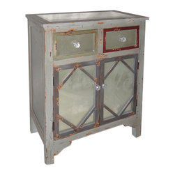 Cheung's - Wood Cabinet With Double Mirrored Door, Mirrored Drawer And Mirrored Table Top - Knobs Inserted on reverse Side of the drawer to prevent impact damage. Beautiful Faux Crystal Knobs. 4 feet. Mirrored Drawer, Mirrored top, mirrored Door