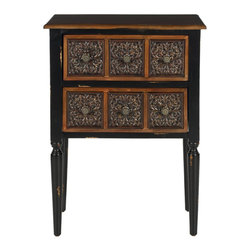 Safavieh - Safavieh Kenneth Birch and Iron Side Table in Dark Brown - Safavieh - Nightstands - AMH4052A - Mi casa es su casa. The Kenneth side table makes any room feel welcoming with its carefully crafted tooled drawer facings inspired by Spanish and Mexican carved tables. Two-toned contrasting edging of this dark brown birch Wood table gives its rustic southwestern facade added depth and charm.