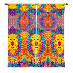 """DiaNoche Designs - Window Curtains Lined by Pom Graphic Design Ethnic Sun I - DiaNoche Designs works with artists from around the world to print their stunning works to many unique home decor items.  Purchasing window curtains just got easier and better! Create a designer look to any of your living spaces with our decorative and unique """"Lined Window Curtains."""" Perfect for the living room, dining room or bedroom, these artistic curtains are an easy and inexpensive way to add color and style when decorating your home.  This is a woven poly material that filters outside light and creates a privacy barrier.  Each package includes two easy-to-hang, 3 inch diameter pole-pocket curtain panels.  The width listed is the total measurement of the two panels.  Curtain rod sold separately. Easy care, machine wash cold, tumble dry low, iron low if needed.  Printed in the USA."""