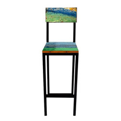 EcoChic Lifestyles - Fin and Tonic Reclaimed Wood Bar Chair - A splash of color is the active ingredient in this tall, refreshing Fin & Tonic Bar Chair. The wood is originally from hand-painted tropical fishing boats. The iron frame, reclaimed from dismantled bridges, adds to the cool sophistication. A great piece for the breakfast bar in your kitchen.