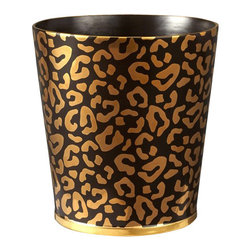 "L'Objet - L'Objet Leopard Waste Basket - Meticulously handcrafted from select metals and Limoges porcelain, L'Objet Desk Accessories comprise a whimsical collection that is complex in color, rich in texture, and global in design. Brass, 24K Gold, EnamelMeasures: 9"" x 10"" / 23cm x 25cm 'Genuine Limoges Porcelain Luxuriously Gift Boxed. L'Objet is best known for using ancient design techniques to create timeless, yet decidedly modern serveware, dishes, home decor and gifts."