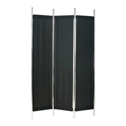 Adesso - Adesso Rita Folding Screen, Black/Chrome - HX1111-01 - Chrome finished metal frame has three black polyester fabric panels which are attached with Velcro
