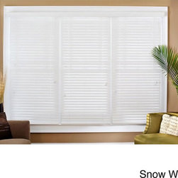Safe-er-Grip - Faux Wood 34-inch Blinds - Update your home and provide yourself privacy with these white faux-wood window blinds. Made of PVC,these blinds are 34 inches wide and will come with a decorative three-inch matching crown valence. The blinds have a tilt adjuster and a lift cord.