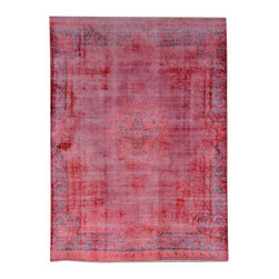 """ALRUG - Handmade Ruby Persian Antique Overdyed Rug 6' 6"""" x 8' 11"""" (ft) - This Persian Overdyed design rug is hand-knotted with Wool on Cotton."""