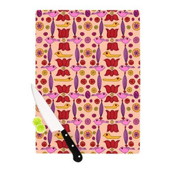"Kess InHouse - Jane Smith ""Indian Jewelry Repeat"" Tan Pink Cutting Board (11.5"" x 15.75"") - These sturdy tempered glass cutting boards will make everything you chop look like a Dutch painting. Perfect the art of cooking with your KESS InHouse unique art cutting board. Go for patterns or painted, either way this non-skid, dishwasher safe cutting board is perfect for preparing any artistic dinner or serving. Cut, chop, serve or frame, all of these unique cutting boards are gorgeous."