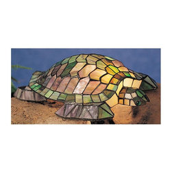 Meyda Tiffany - 15.5 in. Turtle Accent Lamp - Requires one 15 watt candelabra type bulb. Stunning green and blue stained tiffany glass shade. Sculptures light. Made from copperfoil. Beige color. 15.5 in. L x 13 in. W x 4.5 in. H. Care InstructionsTurtle tiffany glass accent lamp, a sea turtle is transformed into a charming accent lamp. Glass is used to create this beautiful lighted sculpture using tiffany's world famous process. The lamp is accented with green glistening jeweled eyes.