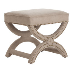 Kathy Kuo Home - Tennyson Natural Linen Antique Brass Studded Stool Ottoman - The traditional European design of this stool is updated with natural linen fabric and brass studded detailing. Take a seat on this regal stool as you greet your subjects (read: guests) in your contemporary home, or place in front of your vanity mirror for a comfortable, classy touch while you prep for the day.