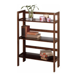 Winsomewood - 3-Tier Folding and Stackable Shelf, Wide - This folding shelf comes in three different finishes to match any space. Double stack this shelf to create a wall unit. Use it in the bathroom for your towels, in the kids room for their stuff toys or in an office for books or files. Made of Solid beech wood.
