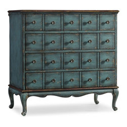 Hooker Furniture - Four Drawer Chest - Turquoise - White glove, in-home delivery included!  Featuring four drawers this exceptional chest is crafted with hardwood solids.